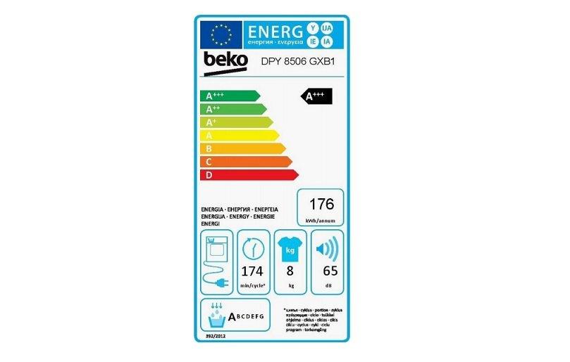 Energetický štítok sušičky Beko DPY 8506 GXB1