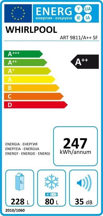 Energetický štítok chladničky Whirlpool ART 9811/A++ SF
