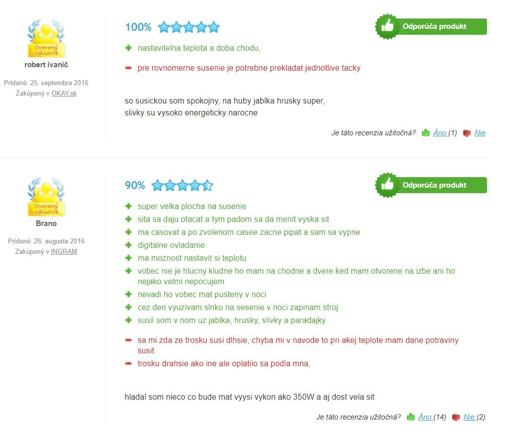 G21 paradiso big sušička ovocia - recenzie zákazníkov