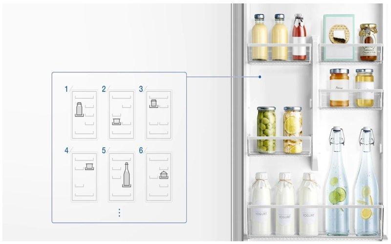 Priehradky na dverách chladničky