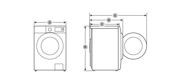 Šírka, výška a hĺbka práčky