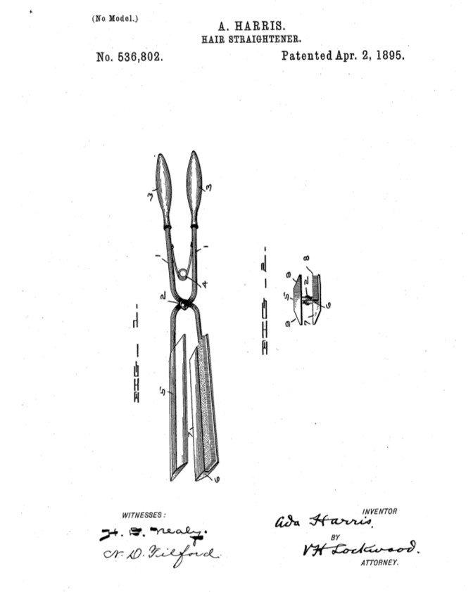 Výkres žehličky na vlasy v patentovom návrhu