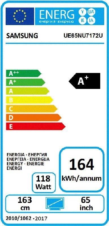 Energetický štítok s údajmi o tv Samsung UE65NU7172