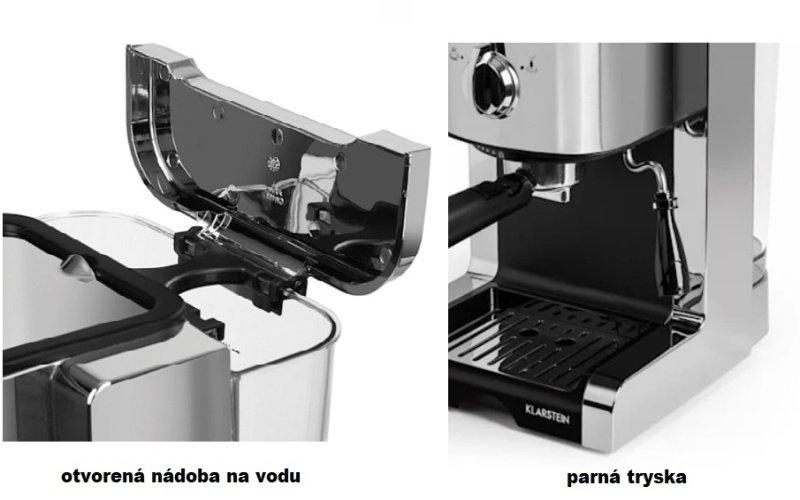 Nádoba na vodu a parná tryska kávovaru