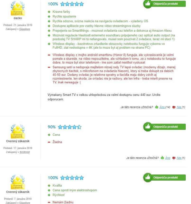 Recenzie užívateľov na televízor Samsung UE43RU7172.