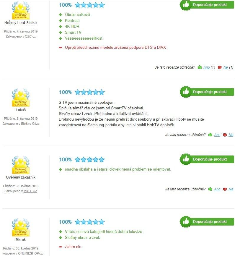Reálne skúsenosti zákazníkov s televízorom Samsung UE43RU7172.