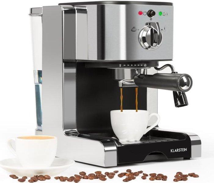 Strieborný pákový kávovar