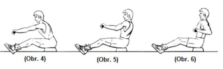 Cvičenie ramien na veslovacom trenažéri
