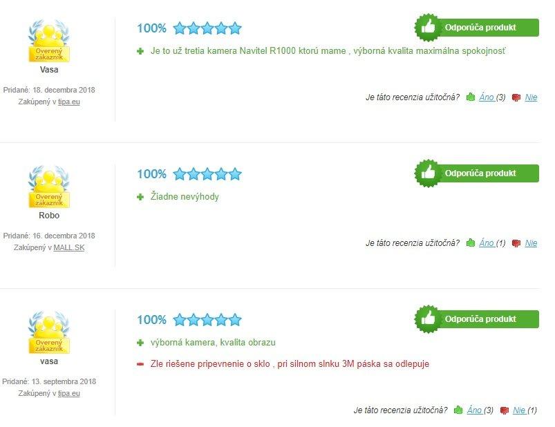 Recenzie zákazníkov na autokameru Navitel R1000