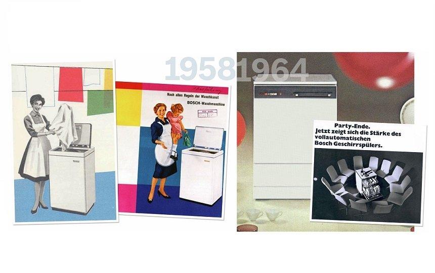 Prvá práčka a umývačka riadu značky Bosch.