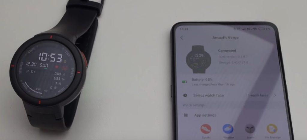 Amazfit Verge spárovaný so smartfónom
