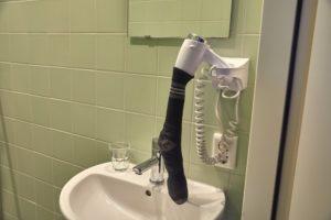 Sušenie ponožky fénom