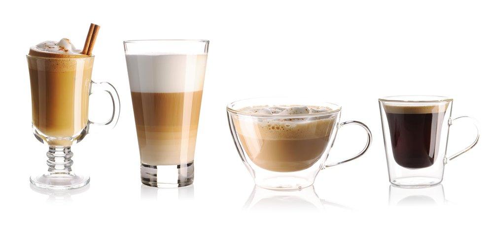 Rôzne druhy kávy s mliekom