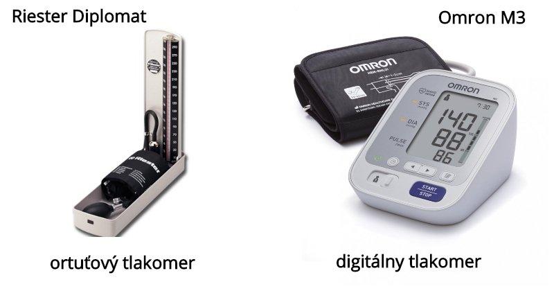 Ortuťový a digitálny tlakomer