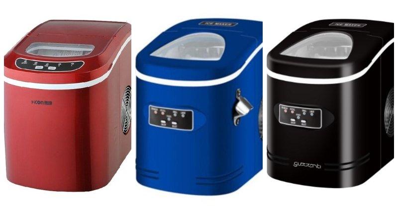 Červený, modrý a čierny výrobník ľadu