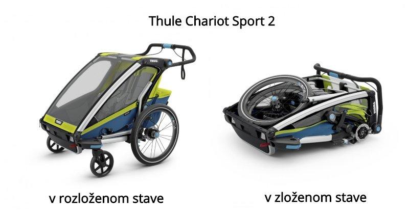 Cyklovozík Thule Chariot Sport 2 v rozloženom stave a v zloženom stave