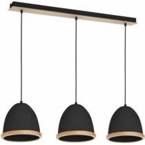 Čierne závesné svietidlo sdrevenými detailmi Studio Tres