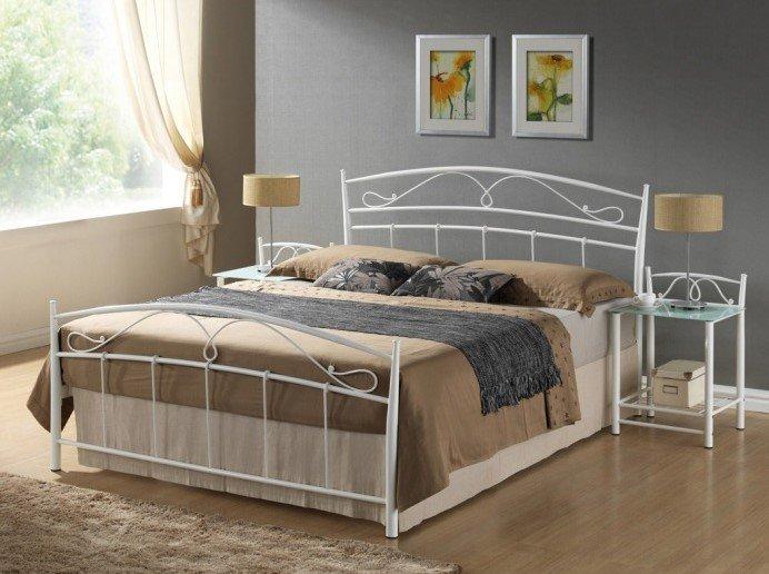 Kovová manželská posteľ s rosťom SIENA 160 - biela