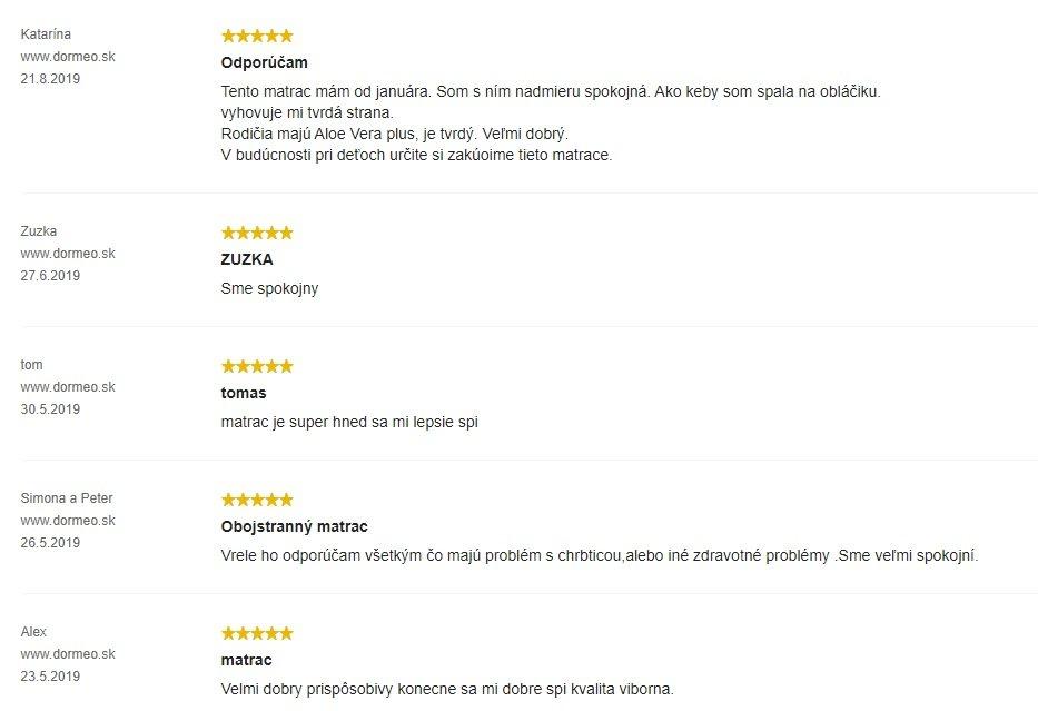 Recenzie zákazníkov na matrac Dormeo iMemory S Plus