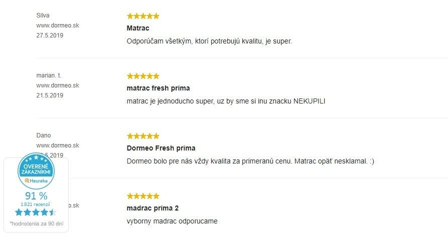 Recenzie zákazníkov na matrac Dormeo Fresh Prima II
