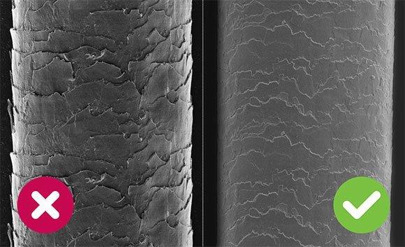 Vlasové kutikuly - porovnanie sušenia bežným fénom a Wellneo AirPro