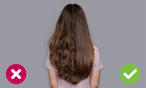 Vľavo sú vlasy sušené bežným fénom, vpravo vlasy sušené fénom Wellneo