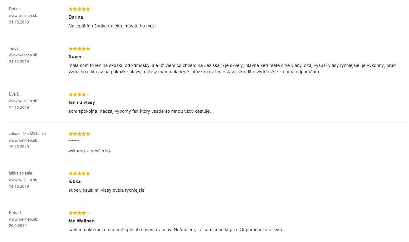 Fén Wellneo AirPro - recenzie zákazníkov