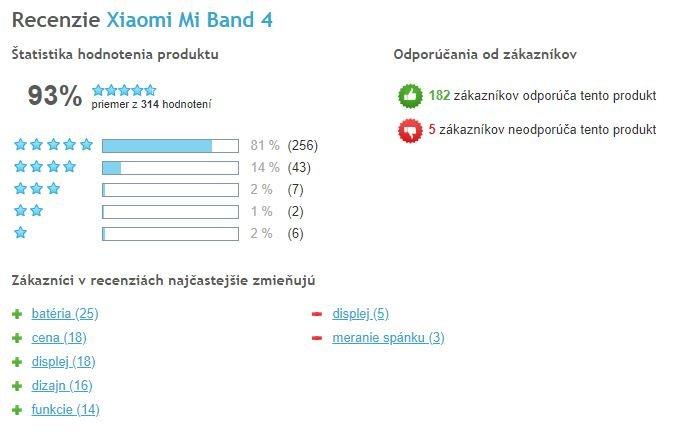 Xiaomi Mi Band 4 - celkové hodnotenie užívateľov, Heureka