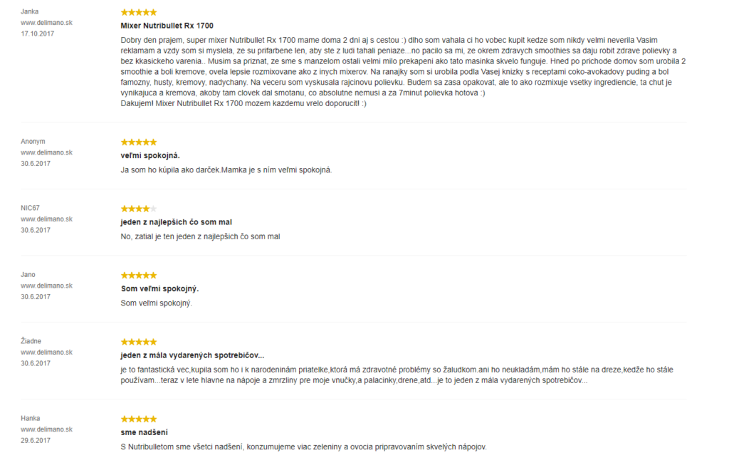 Delimano Nutribullet RX 1700 - zákaznícke recenzie