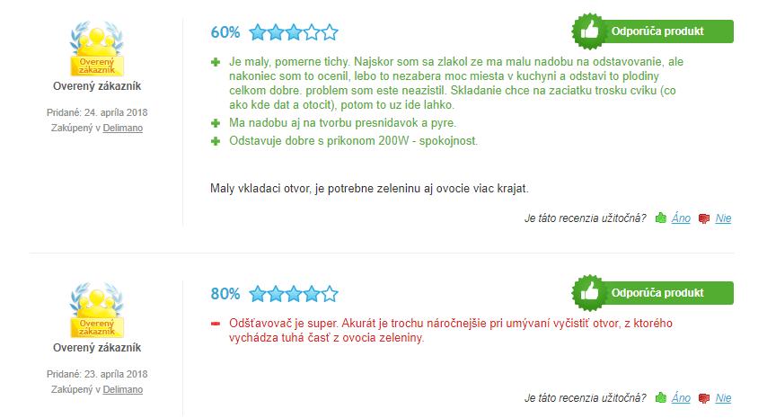 Odšťavovač Delimano Slow Joy - recenzie
