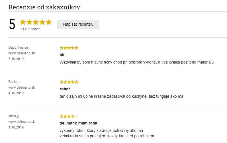 Reálne recenzie zákazníkov na kuchynský robot Delimano