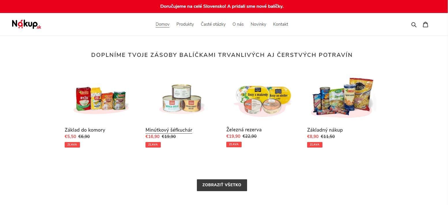 Nákup.sk - donáška potravín celé Slovensko, balíčky