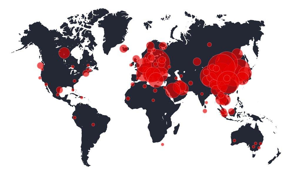 Rozšírenie Covid-19 na mape sveta