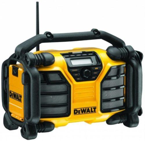 Žlto čierne rádio DeWalt DCR017 na stavenisko