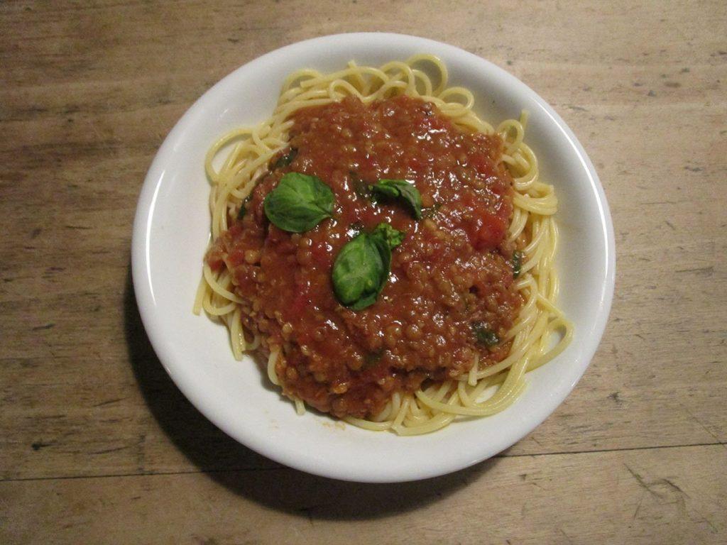 Šošovicové špagety Bolognese
