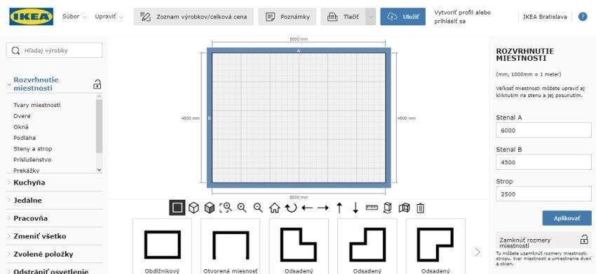 Ikea podrobný online plánovač kuchýň