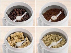 Kávové zrná a orechy v mlynčeku na kávu Delimano Joy