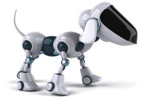 Biely robotický pes
