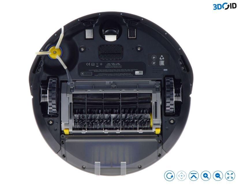Robotický vysávač iRobot Roomba 696 WiFi - spodná strana, rotačné kefy, bočná kefa
