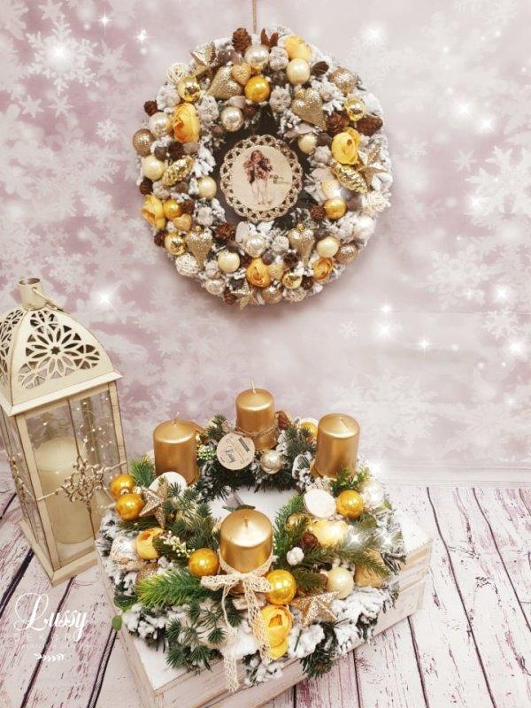 Zlatý adventný veniec so sviečkami