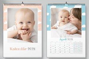 Nástenný kalendár s bábätkom a ženou
