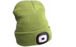 Zelená čiapka s čelovkou