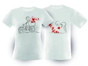 Dve biele tričká s romantickou potlačou