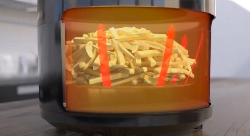 Vzduch prúdi vo vnútri fritézy
