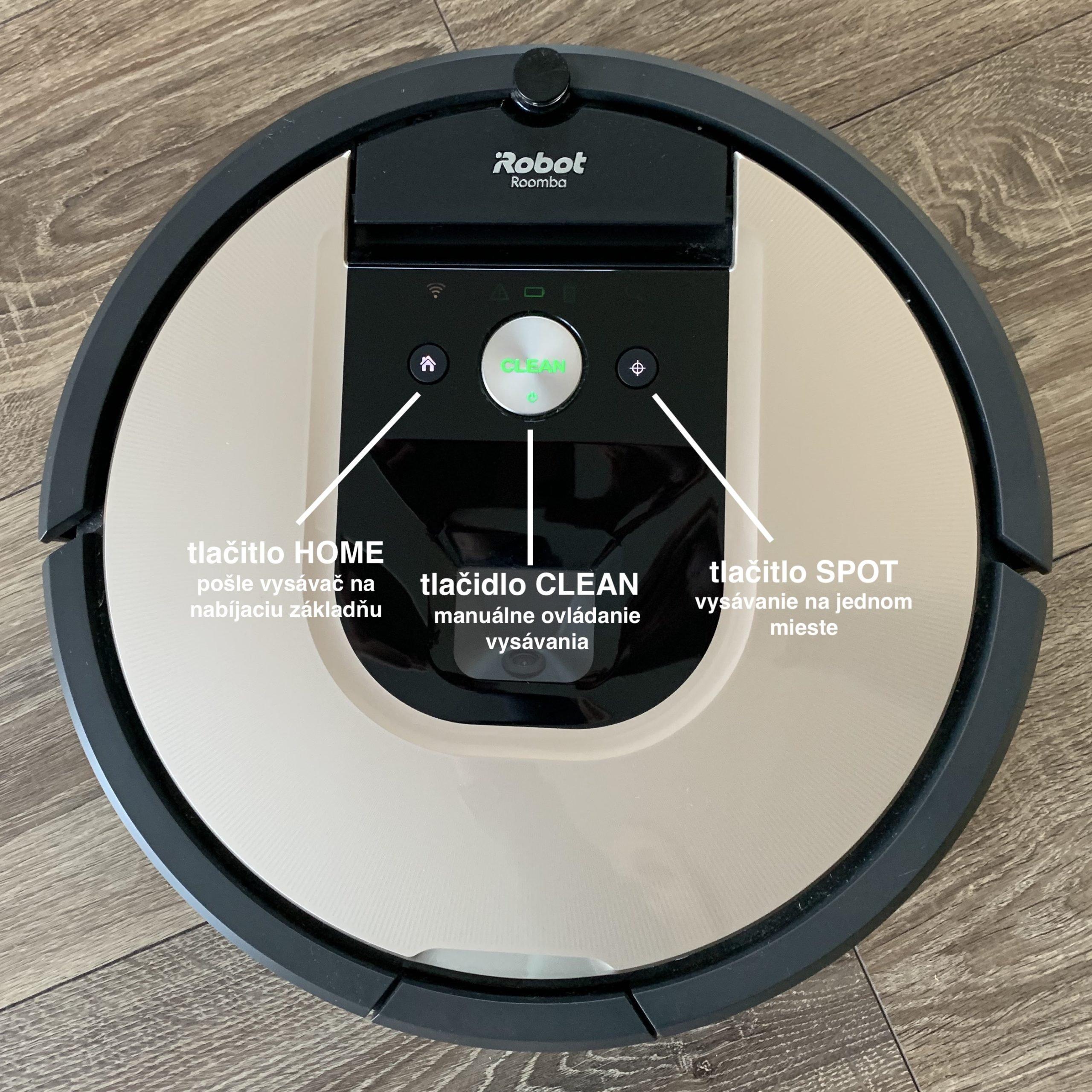 Ovládacie tlačidlá vysávača iRobot Roomba 976