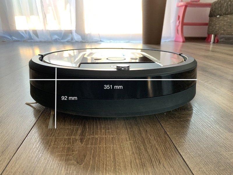 bočný pohľad na vysávač iRobot Roomba 976 + rozmery vysávača