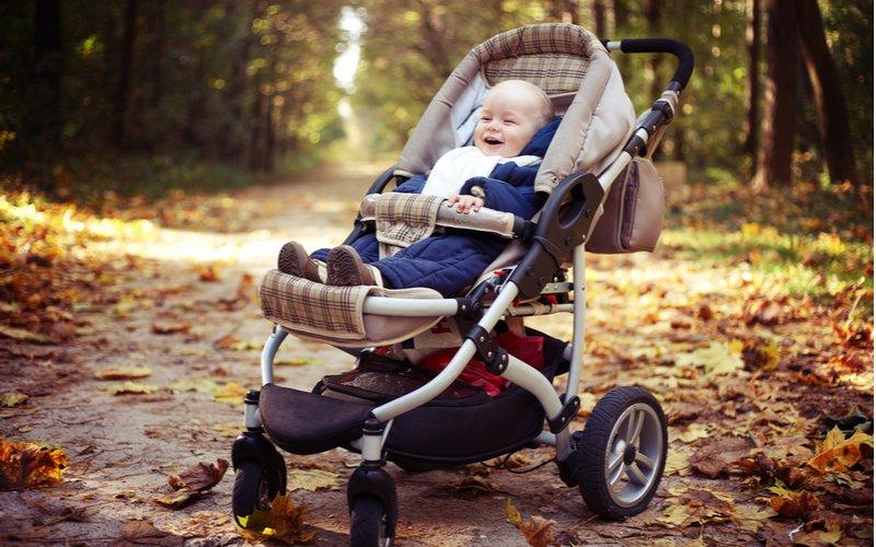 Dieťa v športovom kočíku v prírode