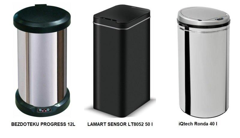 Tri modely bezdotykových odpadkových košov