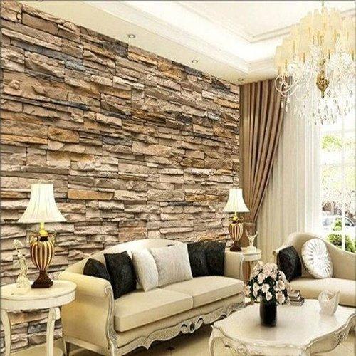 Luxusná obývačka v béžových odtieňoch s kamenným obkladom na stene