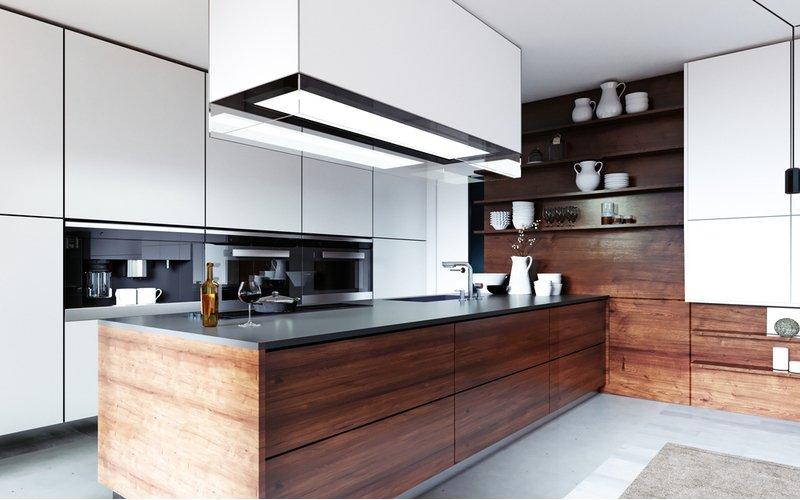 Moderná bielo-hnedá kuchyňa s ostrovčekovým digestorom